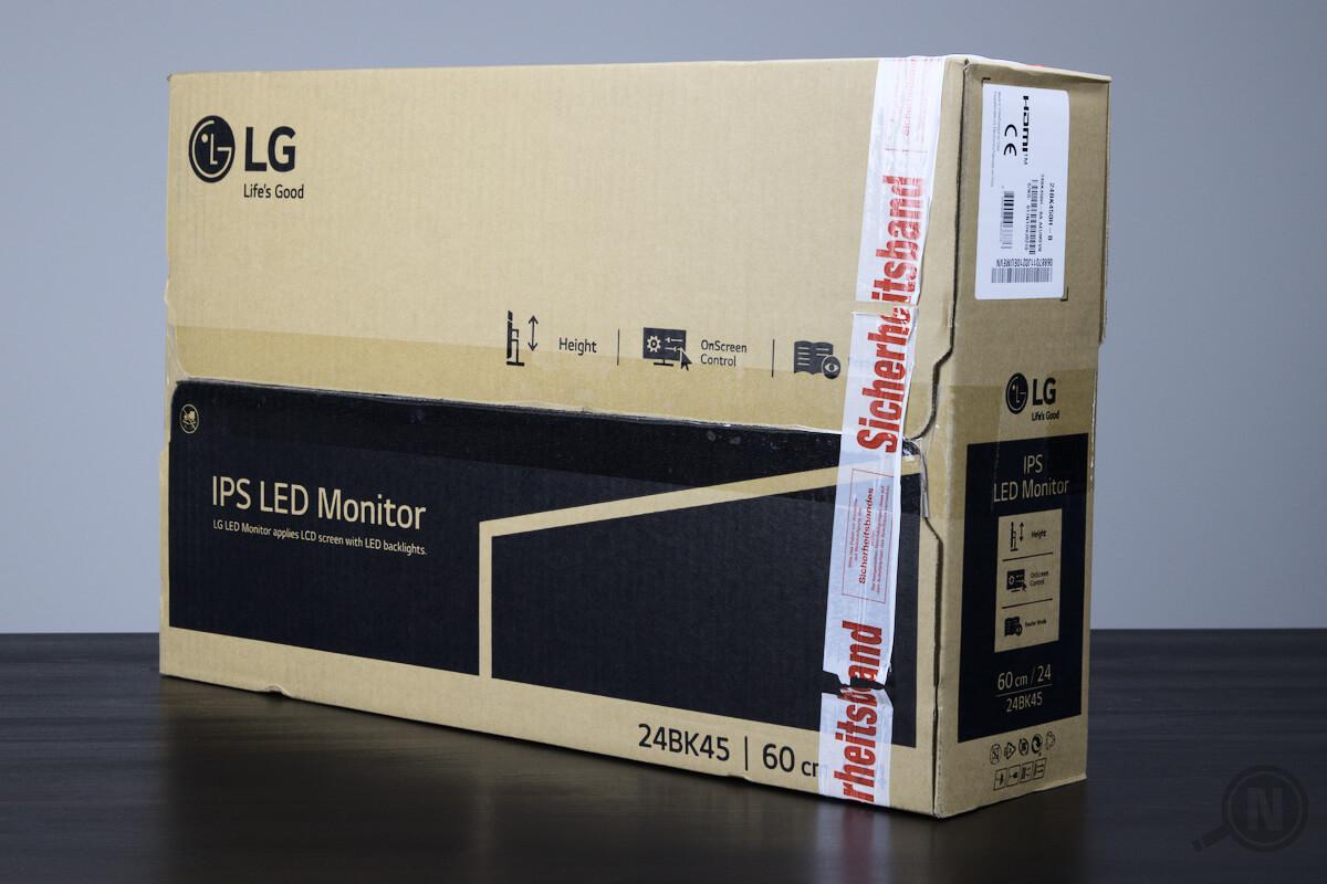 Verpackung eines IPS-Monitors aus braunem Karton.