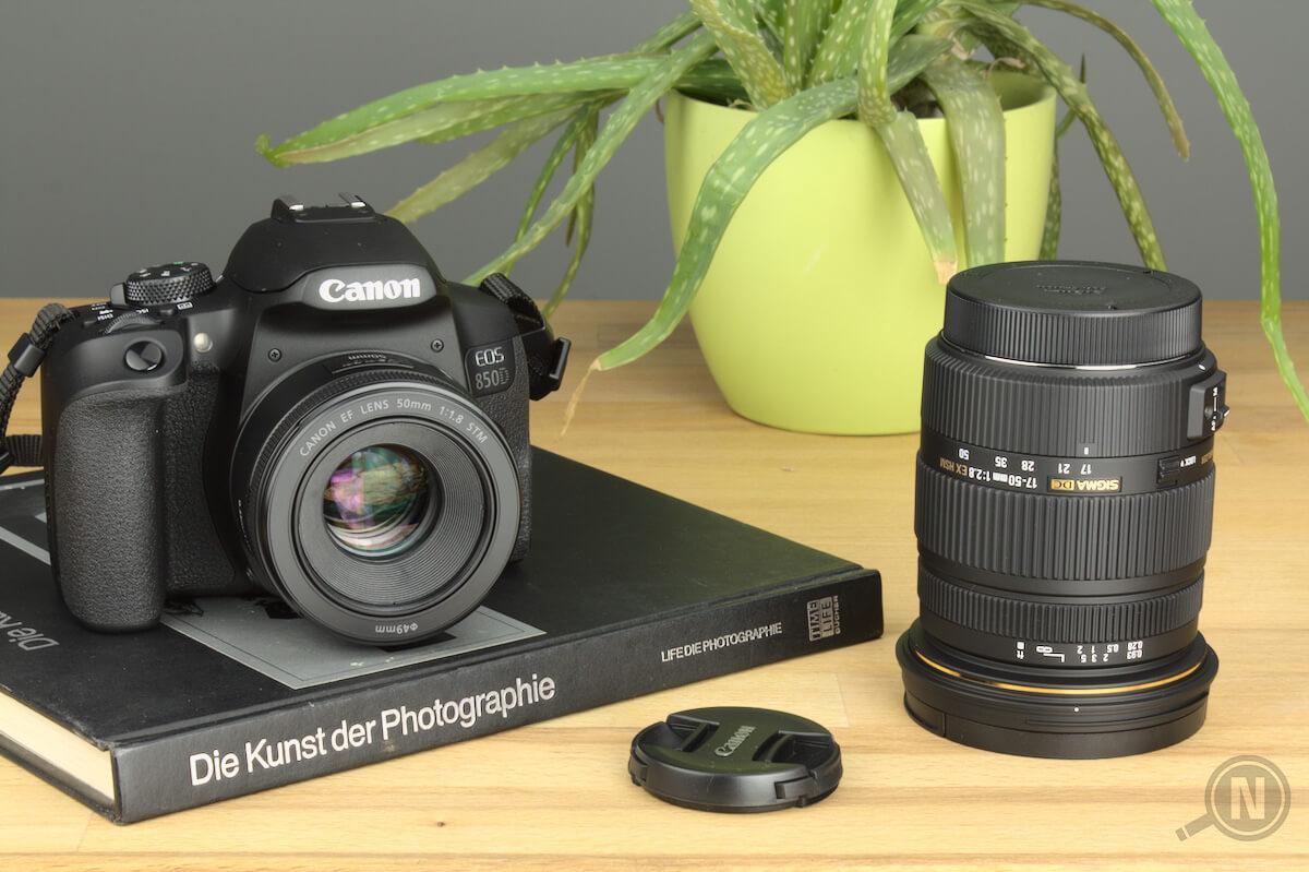 Spiegelreflexkamera liegt auf einem Fotobuch, daneben ein Objektiv und ein Objektivdeckel. Im Hintergrund eine Aloe-Vera-Pflanze.