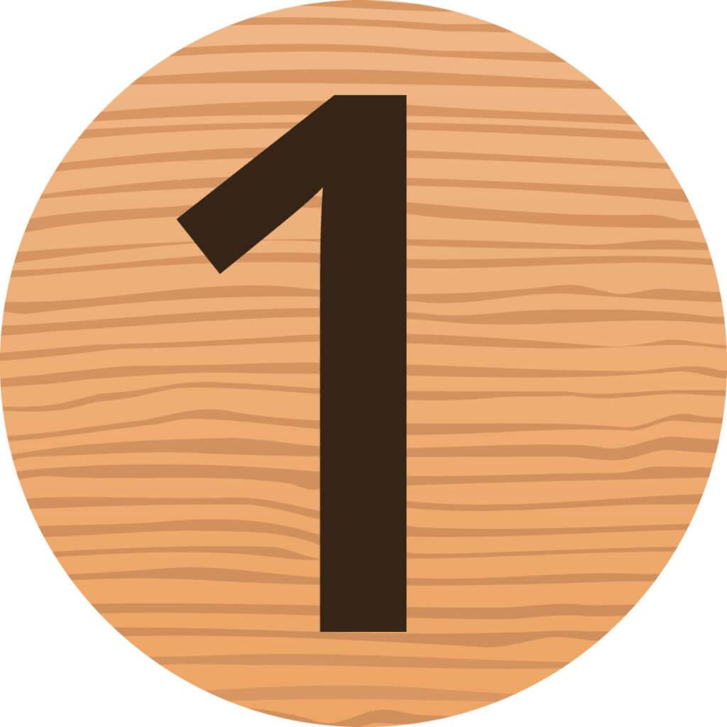 Die Zahl eins auf Holz