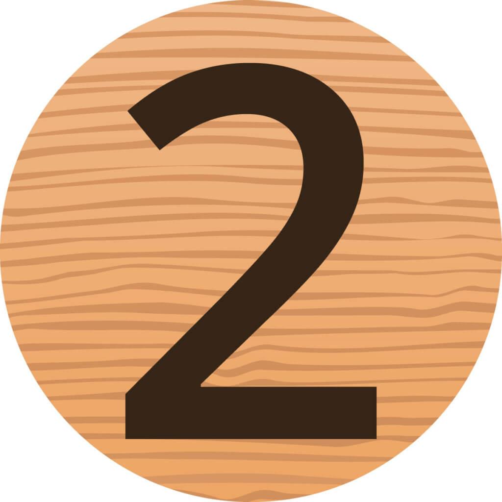 Die Zahl 2 auf Holz