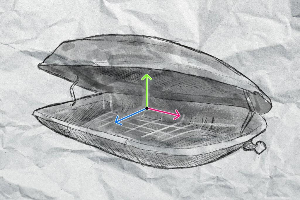 Die grafische Darstellung einer geöffneten Dachbox mit Vektorpfeilen im Inneren.