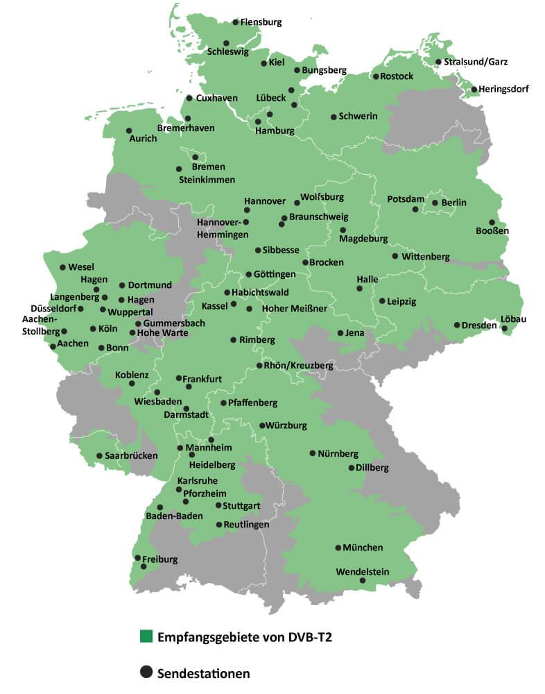 Deutschlandkarte - Empfangsgebiete DVB-T2