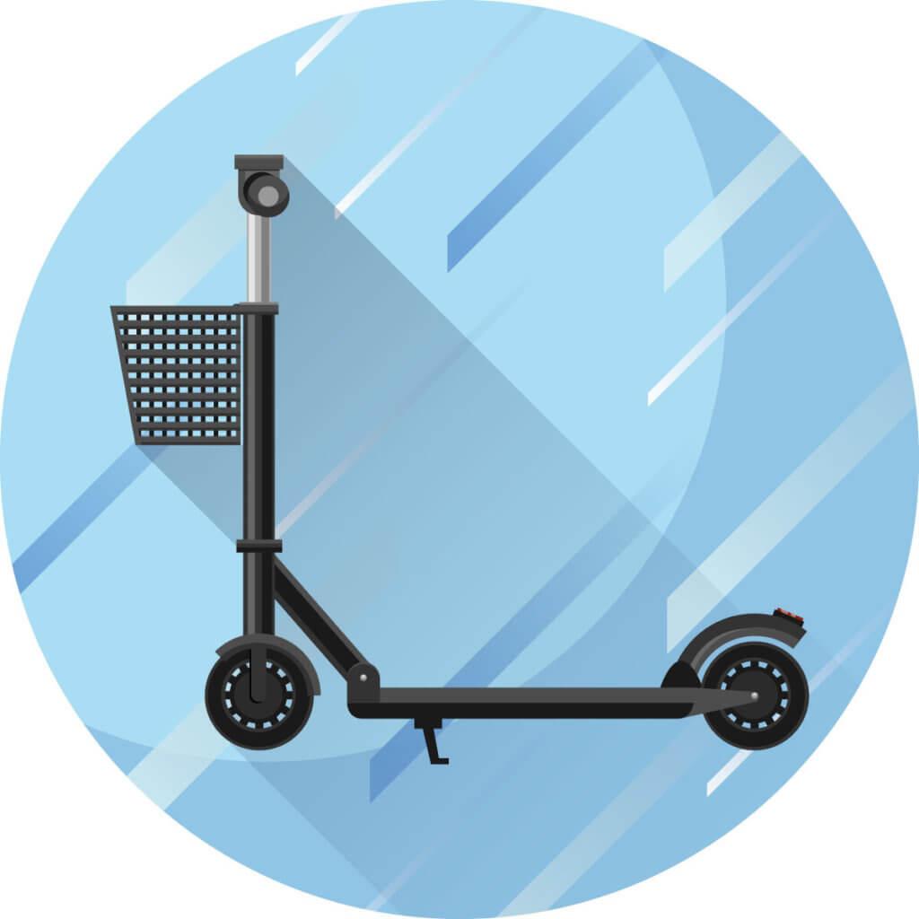Elektro-Scooter mit Korb