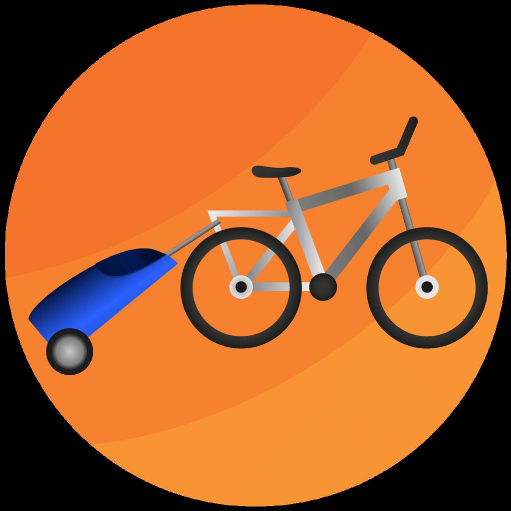 Symbol von einem Trolley, der an einem Fahrrad befestigt ist.
