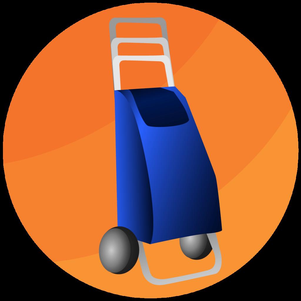 Symbol von einem Trolley mit hoehenverstellbarem Griff