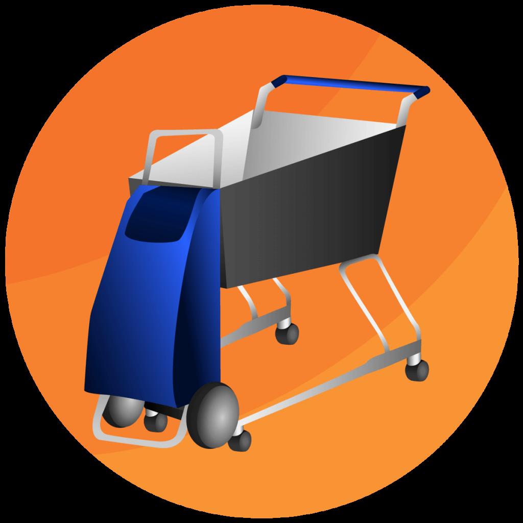 Symbol Trolley, der an einem Einkaufswagen befestigt ist.