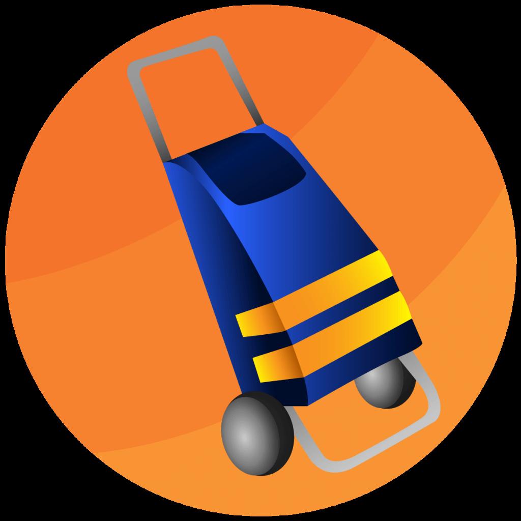 Symbol von einem Einkaufstrolleys mit zwei Reflektorstreifen.