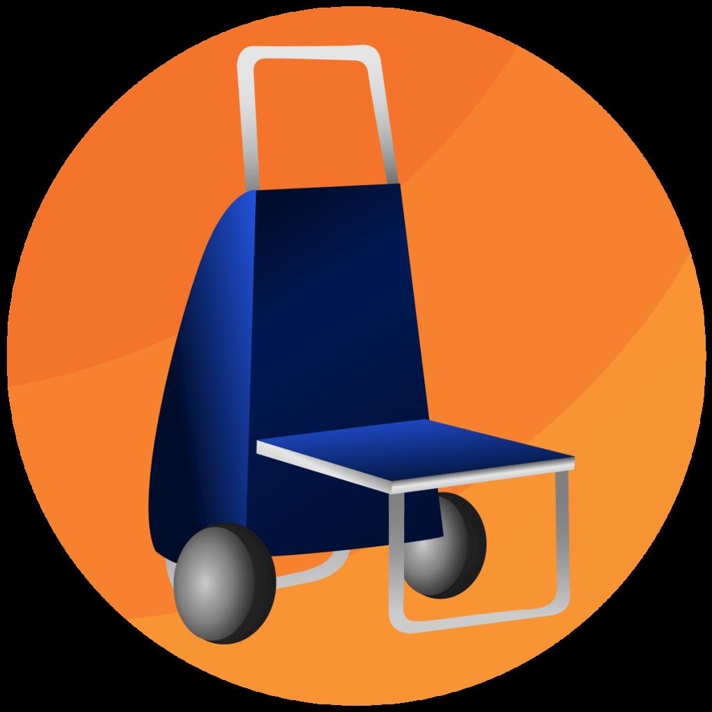 Symbol von einem Einkaufstrolley mit ausklappbarem Griff.