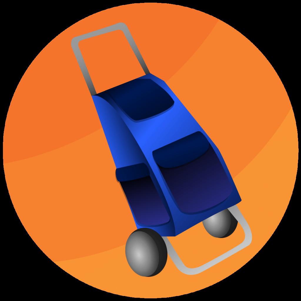 Grafische Darstellung von einem blauen Einkaufstrolley mit vielen Taschen.