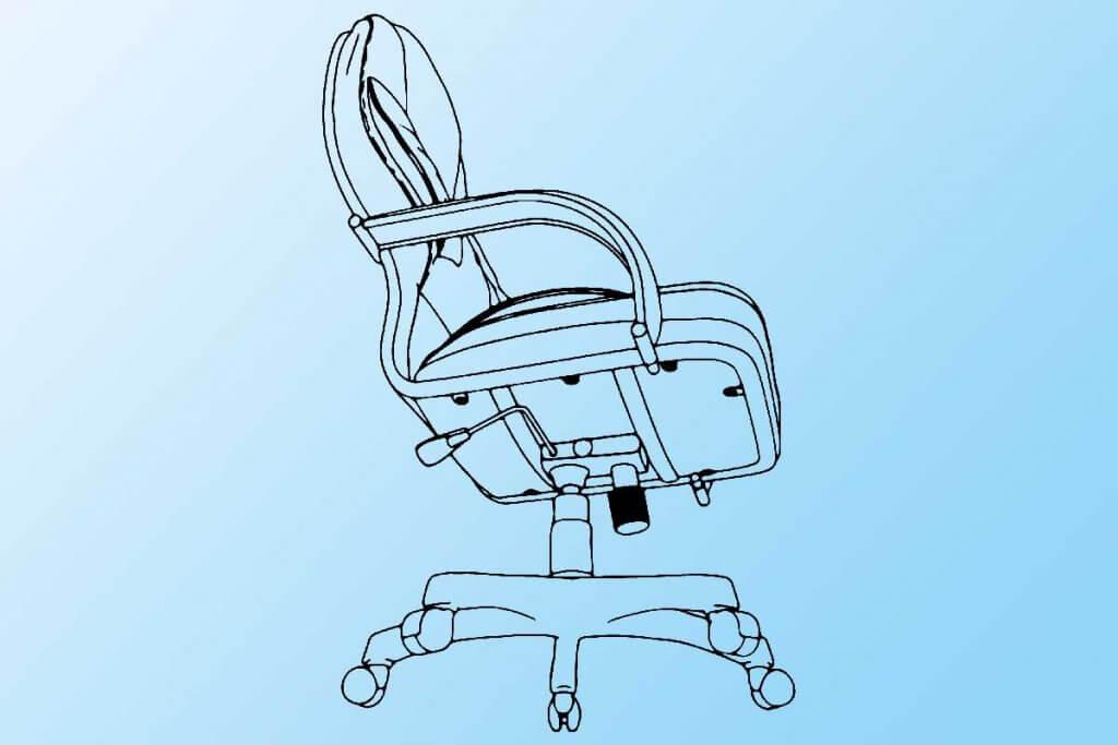 zeichnung eines buerostuhls