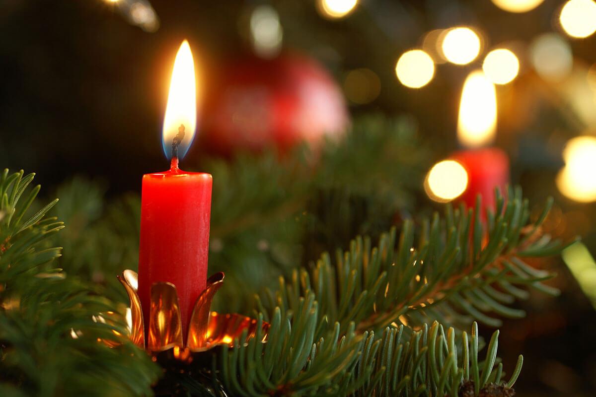 Eine brennende Weihnachtsbaumkerze im Weihnauchtsabaum
