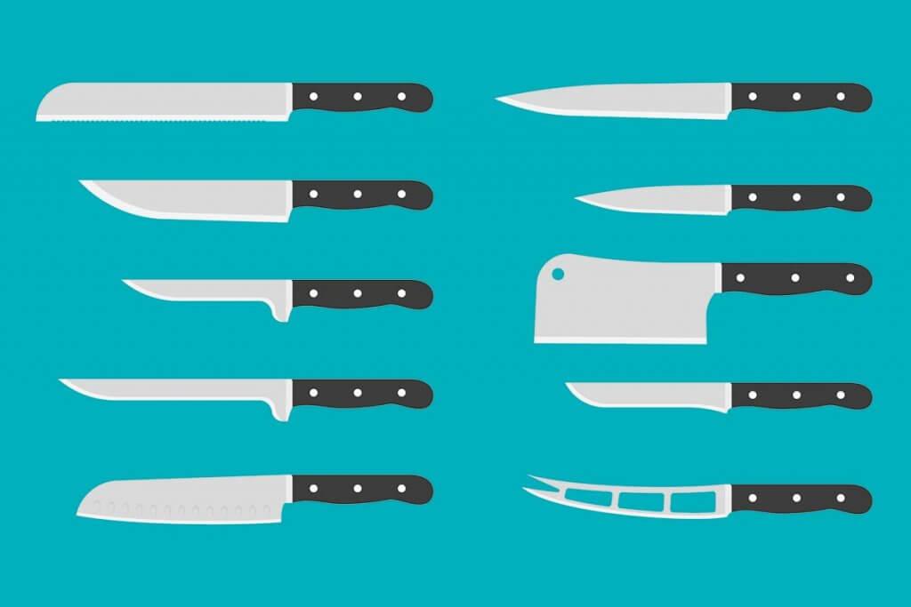 Mehrere Messertypen auf blauem Hintergrund.