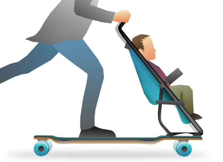 Longboard-Kinderwagen