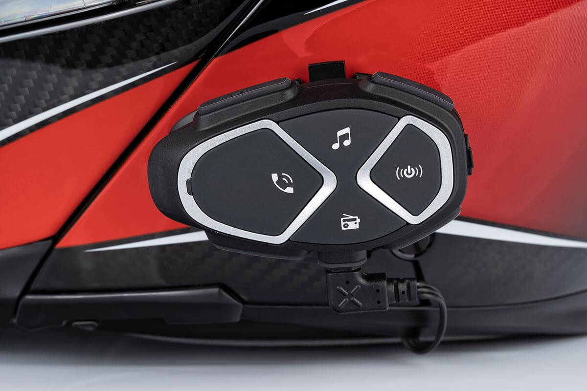 bedienelemente an einem motorrad-headset