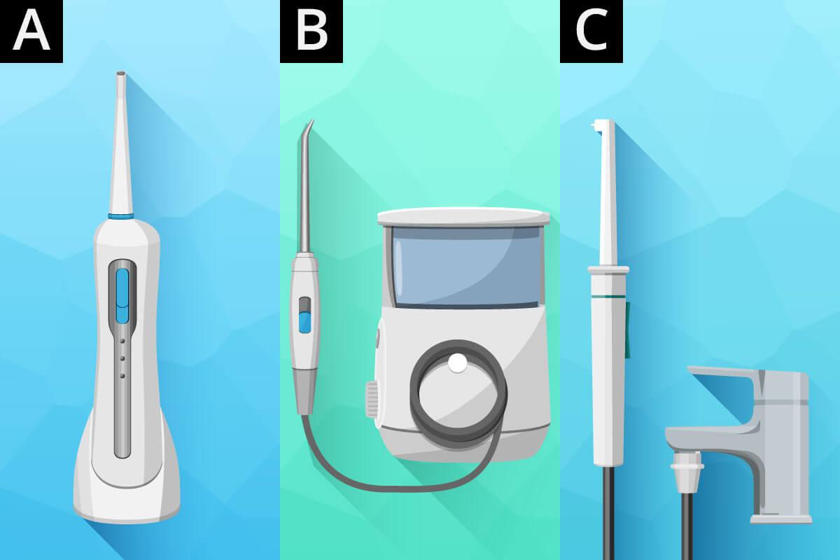 Mundduschen-Modelle als mobiles Handteil. Stromanschluss und zum direkten Anschliessen an den Wasserhahn