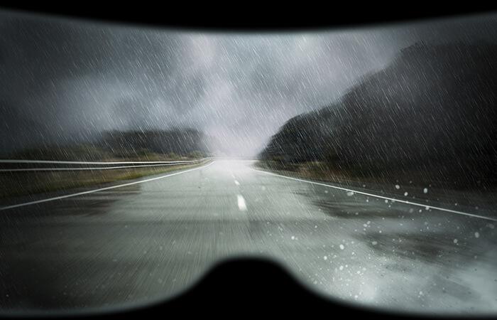 schlechte Sicht bei Regen