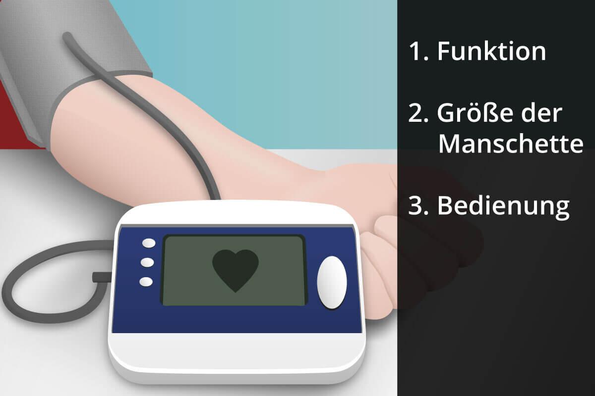 Aufzaehlung der Funktionen eines Blutdruckmessgeraets.