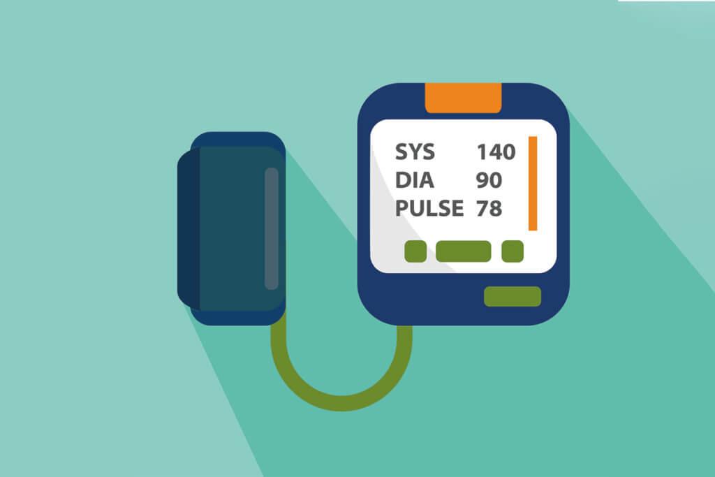 Blutdruckmessgerät mit Anzeige: SYS 140; DIA 90; PULSE 78
