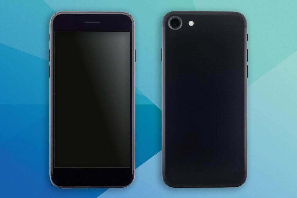 Smartphone auf farbigem Hintergrund