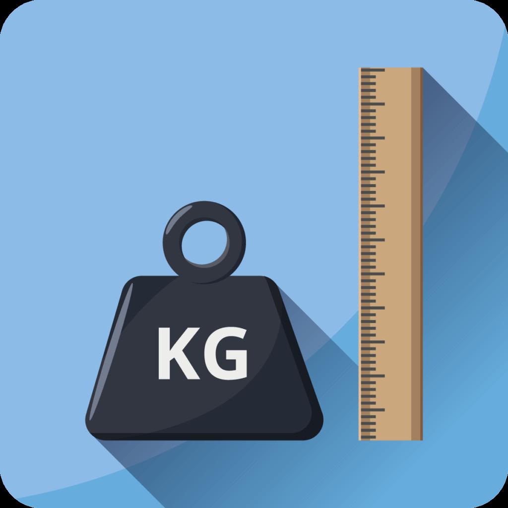 groesse und gewicht