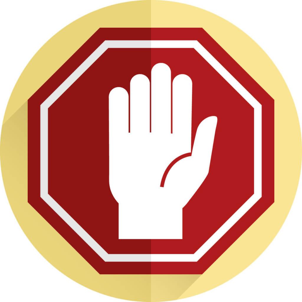 Icon von einer Hand in einem Warnschild