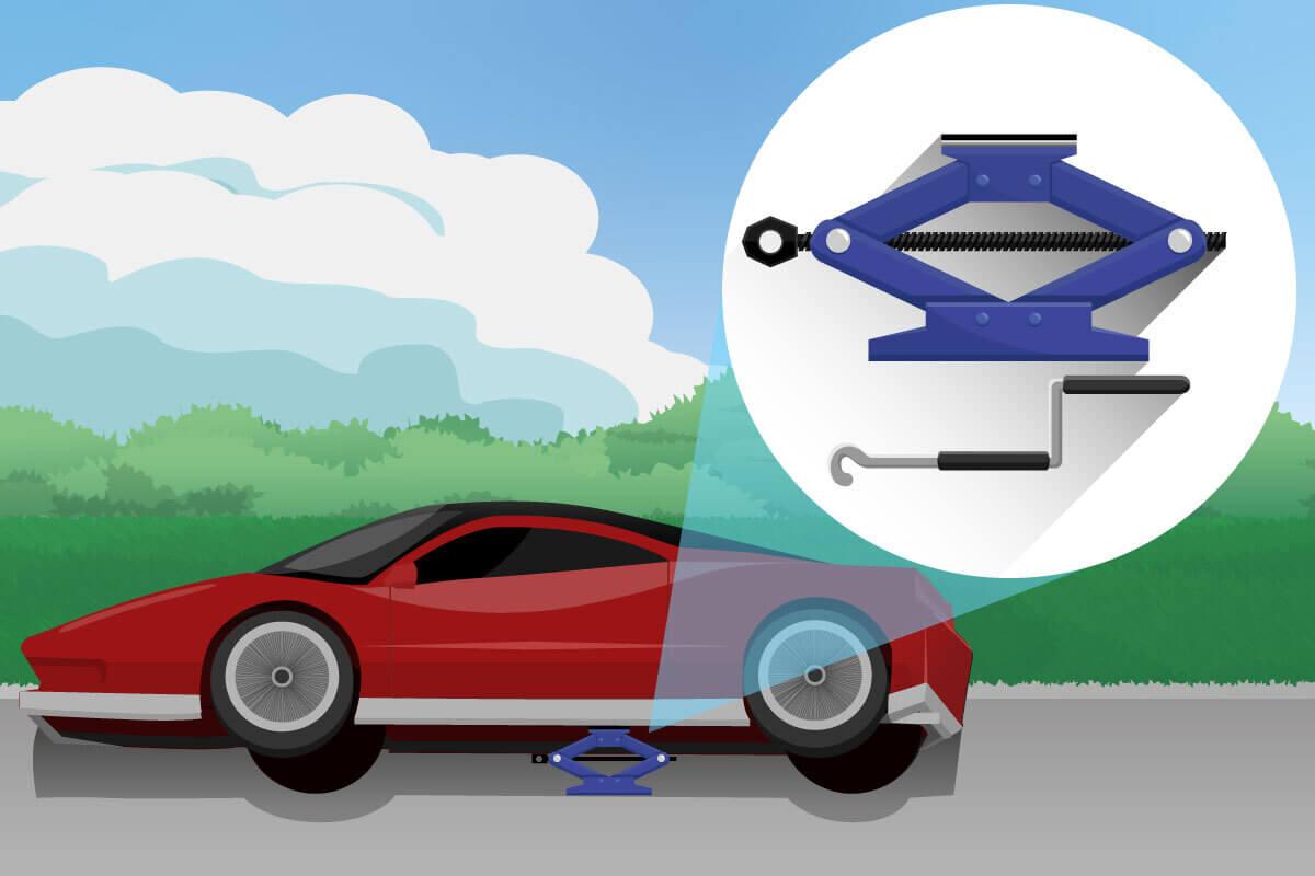 Scherenwagenheber unter einem Auto